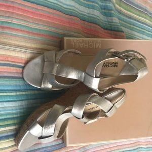 Micheal Kors  Metallic Leather Silver